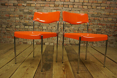 70er Vintage Stapelstuhl Esszimmer Stuhl Chair Loft Plastik Chair orange 1/2
