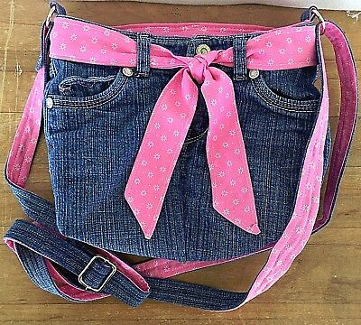 Upcycled Levis Jeans Cross Body Bag, Adjustable Strap, Pink Floral Fabric