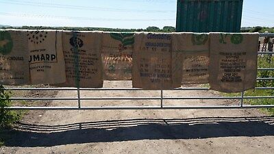 4 x UPHOLSTERY GRADED HESSIAN - EX COFFEE SACKS