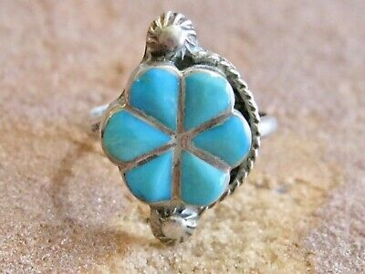 Vintage Native American Persian Turquoise 925 Sterling Silver Flower Ring S 5.25