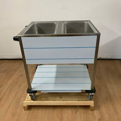 Commercial Stainless Wet Bain Marie Trolley Double 2 Pot RM Gastro BMPK-2120