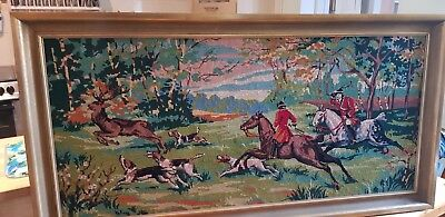 Large Vintage Style English Horse & Hound Stag Hunt Scene In Full Cry Tapestry