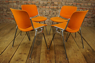 60er Vintage Castelli 4 x Esszimmer Stuhl Dining Chair Set Piretti orange 70er
