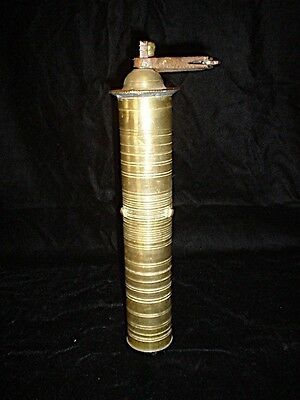 "Antique Turkish Arabic 13"" Brass Coffee / Pepper Mill Grinder Hallmarked"