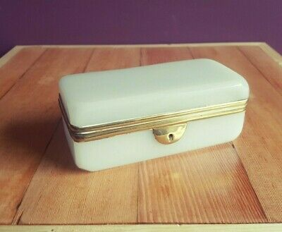 Antique White French Opaline Glass Spoon Box/Casket | France, 19thC
