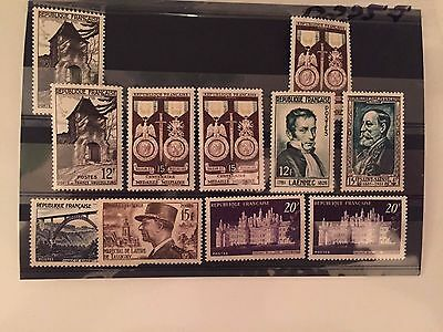 France 11 stamps from 1952 MNH ** perfect