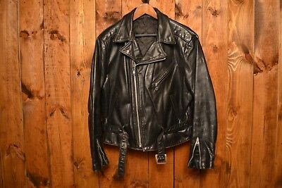 SCHOTT PERFECTO 1970's THREE STARS RARE VTG MOTORCYCLE BIKER LEATHER JACKET L-42