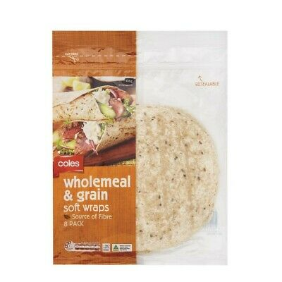 Coles Wholemeal & Grain Soft Wraps 8 pack 416g