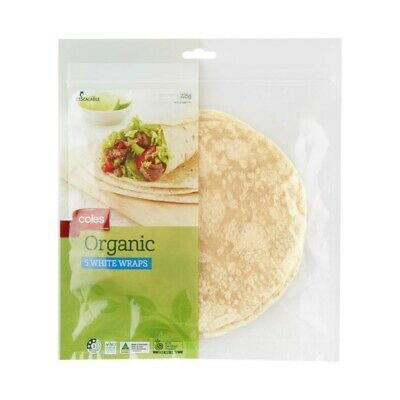Coles Organic White Wraps 5 Pack 225g