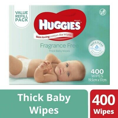 NEW Huggies Absorbent Triple Clean Fragrance Free Thick Baby Wipes 400 Sheets
