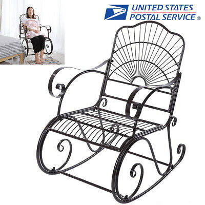 Strange Wide Rocking Chair Wrought Iron Porch Patio Deck Seat Gamerscity Chair Design For Home Gamerscityorg