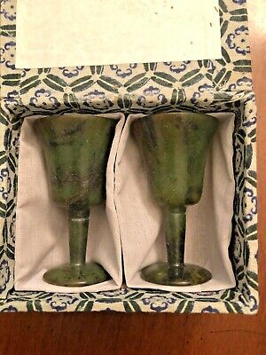 Vintage Set of 2 Jade Carved Stone Cordial Stem Glasses Green Spinach in Box