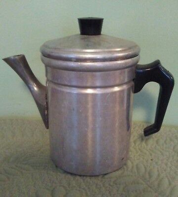 Vintage Aluminum Metal Tea Pot. Approximately 1 Cup Size...Made in Italy.