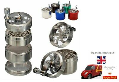 Aluminium Mill Grinder 3 & 4-Part Herb Spice Tobacco Grinders with handle