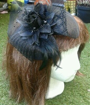 Ladies Fascinator Black Hat Sinamay with Flower & Bow Headband Or Clip Brand New