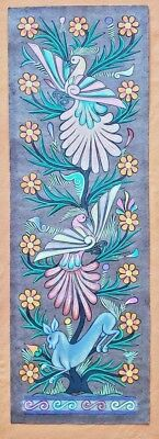 Genuine AMATE BARK PAINTING native ethnic mexican hanging folk art birds flowers