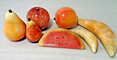 7 Pc Vtg ALABASTER MARBLE STONE FRUIT: Peach, Apple, Pears, Bananas, Watermelon