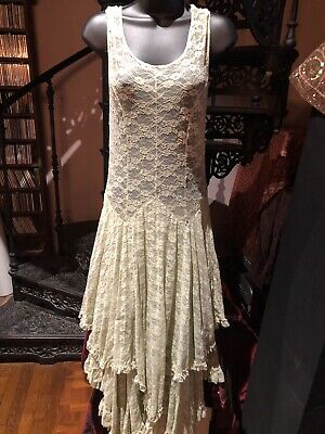 Free People Lace Dress Vintage Victorian Style Pastel Green Maxi