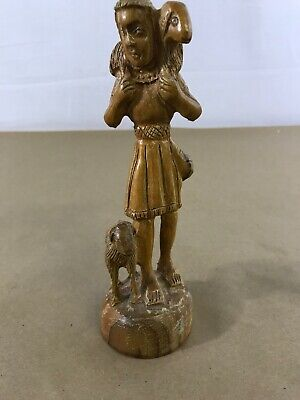 Hand Carved Wood Man With Lambs/ Goats I9
