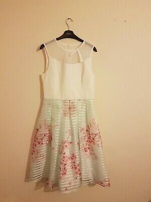 60e3f89f1 TED BAKER MONAH Oriental Blossom Contrast Dress Ted Size 2 Uk Size ...
