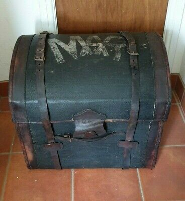 Victorian Steamer Leather/Wicker Trunk with Storm lock cover.
