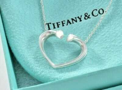 """Tiffany & Co Silver Paloma Picasso Large Tenderness Heart Pendant 17"""" Necklace"""