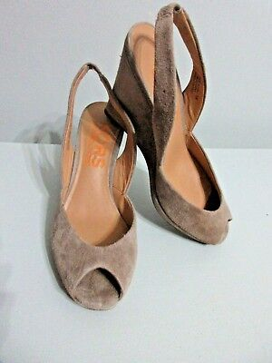 Michael Kors Brown Suede Slingback Peeptoe Wedges Size 5 M *SEXY SHOES*