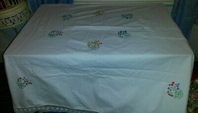 "Vintage Hand Embroidered tablecloth. Floral embroidery.  Approx 54"" x 52"""