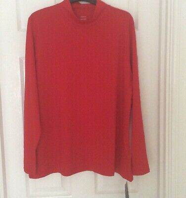 abd947e3247 TOP BRIGHT RED Stretch Roll Neck Long Sleeve Top Size 24 Marks ...
