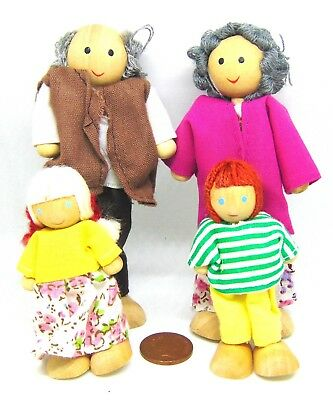 1:12th Scale Set of 4 Wooden Poseable Dolls Doll House Miniature Accessory