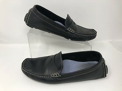 f08980f86b1 Cole Haan Trillby Driver Moccasins Leather Black Loafers 10 B Hand sewn