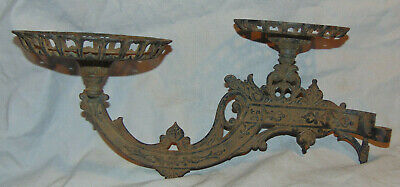 Antique Victorian Cast Iron Double Plate Wall Mounting Oil Lamp Sconce
