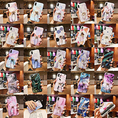 For iPhone XS Max XR 6 7 8 Plus Marble Pattern Ring Stand Holder TPU Case Cover