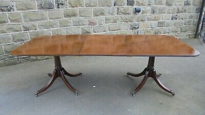 Antique Mahogany Twin Pillar 8FT Extending Dining Table