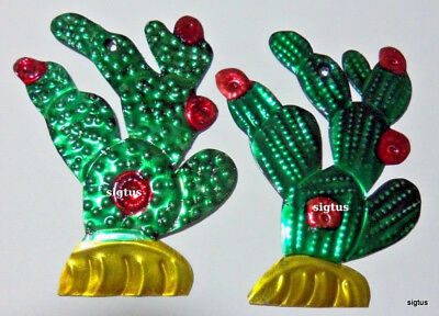 Mexican Hand Painted Tin Prickly Pear Cactus Ornament~2 Choices in Bloom!