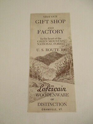 Vintage Lafricain Wooden Gifts Granville Vermont Travel Brochure Pamphlet~Box P1