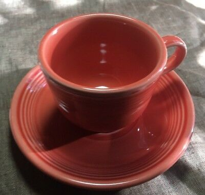 Orange or Tangerine Fiesta Homer Laughlin China Co. Cup and Saucer Vintage