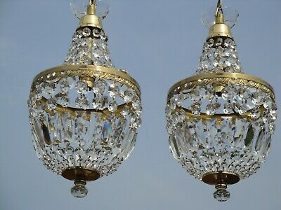 Pair of Very Fine, Vintage French Lead Crystal, Brass Empire Bag Chandeliers.