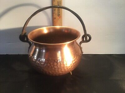 Antique Vintage Hammered Copper Pot Twisted Wrought Iron Handle West Germany