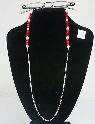 Red Coral, Sterling Silver Rhinestone beads + S/S Curb Chain Spectacles Holder