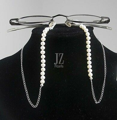 Freshwater Pearl Sterling Silver Curb Chain Eye Glasses Holder Spectacles Holder