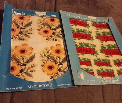Vintage Canister Decals Yellow Flower Pattern Red Labels Green  Meyercord MCM