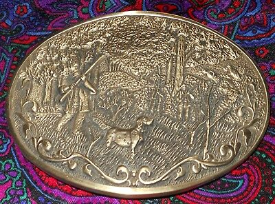 1981Solid Brass Quail Hunting Belt Buckle by Octanner Salt Lake Extra Nice