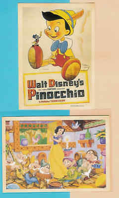 2 Retro style DISNEY character postcards Snow White and Pinocchio D37