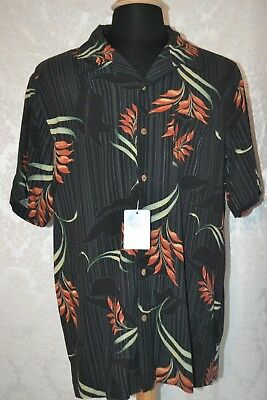 5f518319 NWT Solitude Men's 100% Silk Floral Black Front Button Casual Shirt Size L