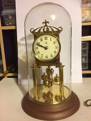 Early 1900's 'Badische' German 400-Day Anniversary Clock in Glass Dome Complete