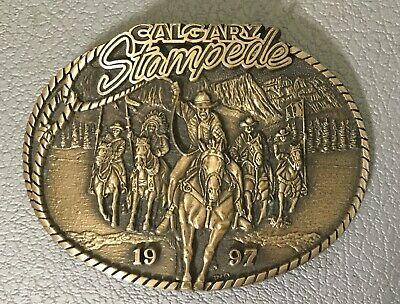 1997 Calgary STAMPEDE BELT BUCKLE Limited Edition Solid Brass Centennial Series