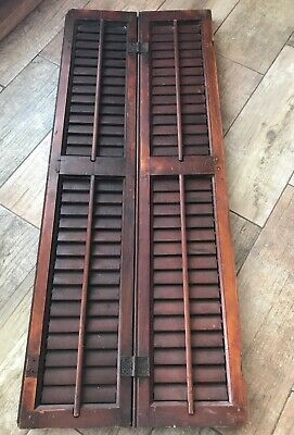 1 Antique Victorian Mahogany 2 Panel Shutters Architectural East Lake Hardware