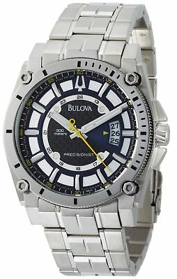 New Bulova Men's 96B131 Precisionist Black Dial Steel Bracelet Watch