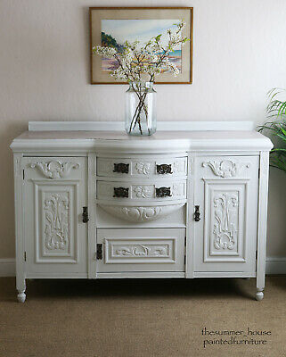 Antique Carved Dresser Buffet Sideboard Server Painted in Fired Earth